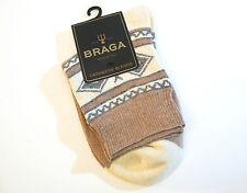 Braga Italy Ladies Boot Socks Cashmere Siik Merino Wool Blend Cream Camel Grey
