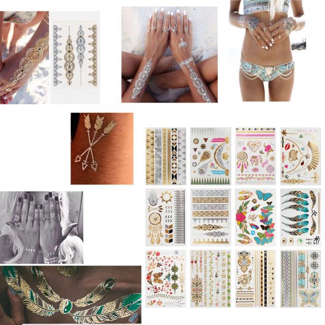 12Pcs Women & Ethic Style Temporary Stickers Waterproof Metallic Flash Tattoos