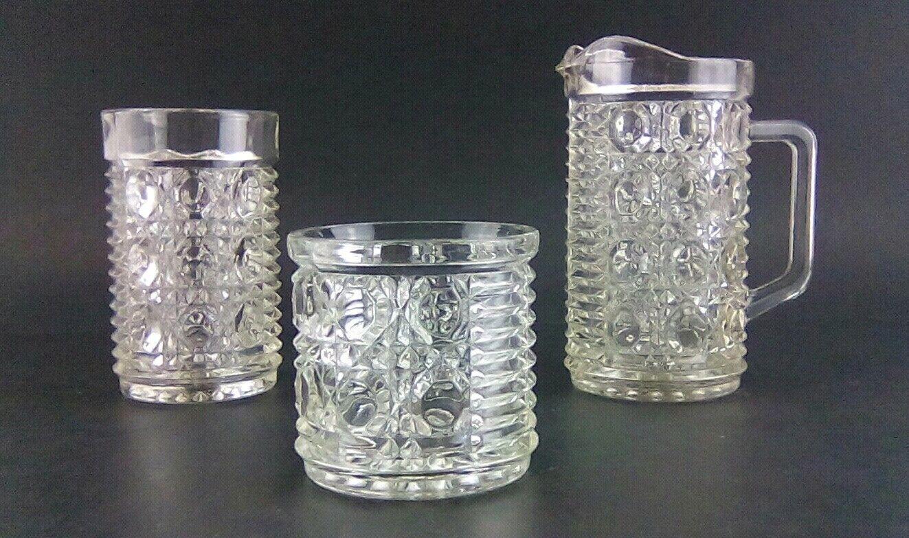 Diamond Edged Glass 3 piece set of Glasswares pitcher, short glass, tall glass