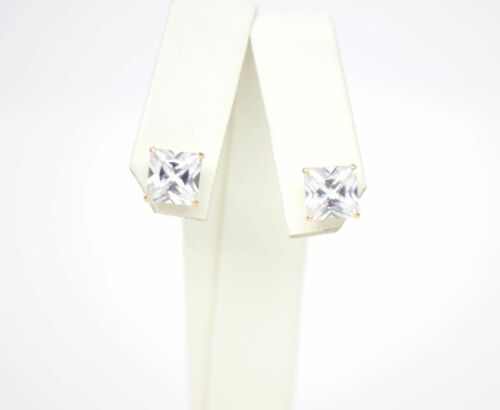 14k Yellow Gold Square Princess Cut CZ Stud Earrings with screw back