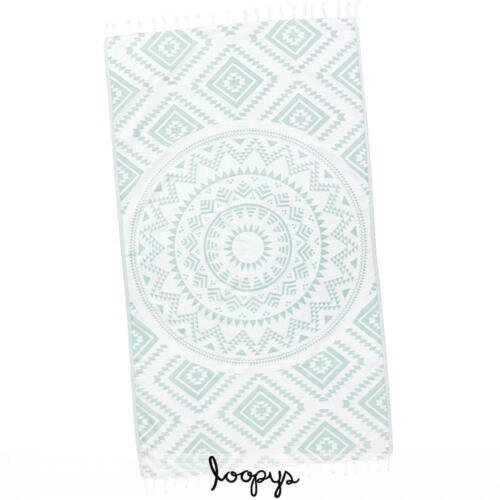 Loopys Mint Green Aztec Tribal Turkish Beach Pool Bath Towel Cotton Throw Fouta