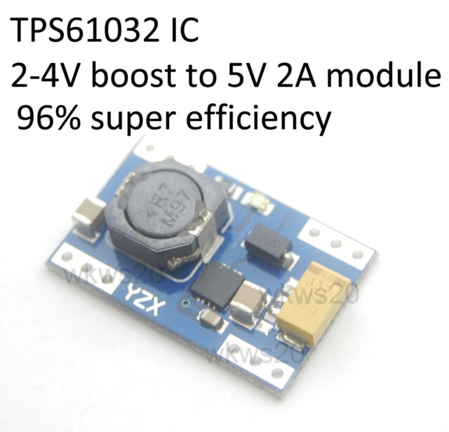 96% efficiency 2-5V to 5V 2.0A Lithium LiFePO4 boost module 18650 A123 TPS61032