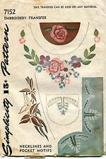 1940's Vintage Simplicity Necklines&Pocket Motifs Embroidery Transf Pattern 7152