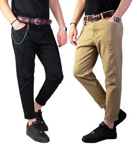 Pantaloni-Strappati-Uomo-Jeans-Slim-Fit-Casual-5-tasche-Nero-Pantalone-Strappi