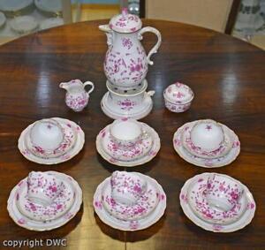 Kaffee-Tee-Service-26-tlg-Meissen-Dekor-indisch-Purpur-Porzellan-Marke-Tassen
