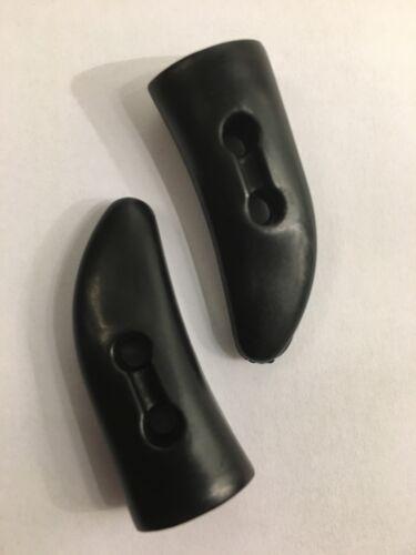 Negro Satinado Palanca De Lona De Abrigo Chaqueta 38 mm 2 agujero Paquete de 10