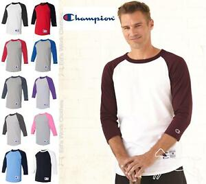 9e803d17 Champion Mens 3/4 Sleeve Raglan Baseball Cotton T Shirt Blank T137 ...