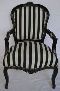 LOUIS XV ARM CHAIR FRENCH STYLE CHAIR VINTAGE FURNITURE BLACK AND WHITE