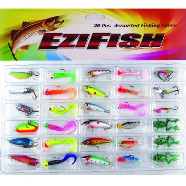 30Pcs/Set Kinds of Spoon Soft Fishing Lures Spinner Bait Bass CrankBaits Tackle