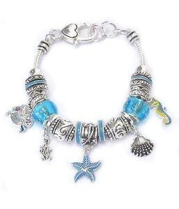 Starfish-Seahorse-Bracelet-Ocean-Blue-Vibrant-Charm-Beach-QUALITY-FAST-SHIP-USA