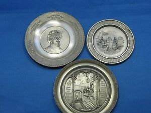 Lot of 3 Antique German WMF Embossed & Engraved Pewter Deco Plates/Pictures