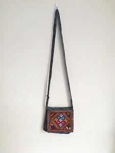 Indian-Ethnic-Banjara-Mirrored-Embroidered-Handbag-Shoulder-Cross-body-Bag-Blue