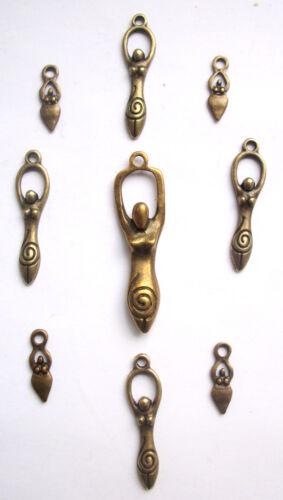 9 Assorted Goddess Gaia Venus Charms /& Pendant Bronze Tone Metal