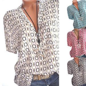 Womens-V-Neck-Tee-Boho-T-shirts-Short-Sleeve-Blouse-Ladies-Loose-Tops-Plus-Size