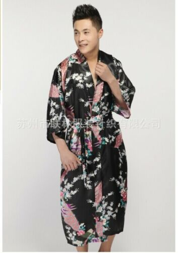 Chinese Silk//satin Men/'s Kimono Robe Gown Bathrobe Dress Black /& Blue
