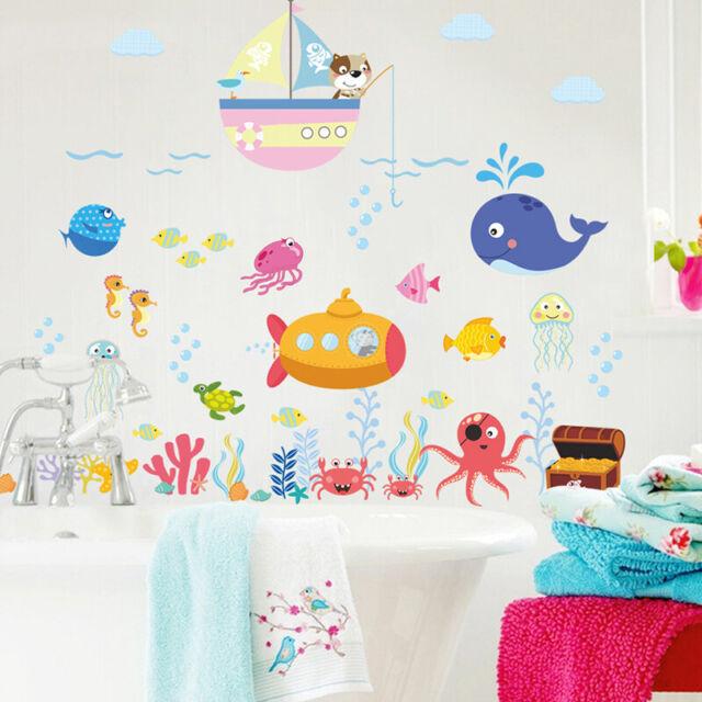 Cartoon Ocean World Wall Sticker PVC Art Kids Classroom Window Decals Decor