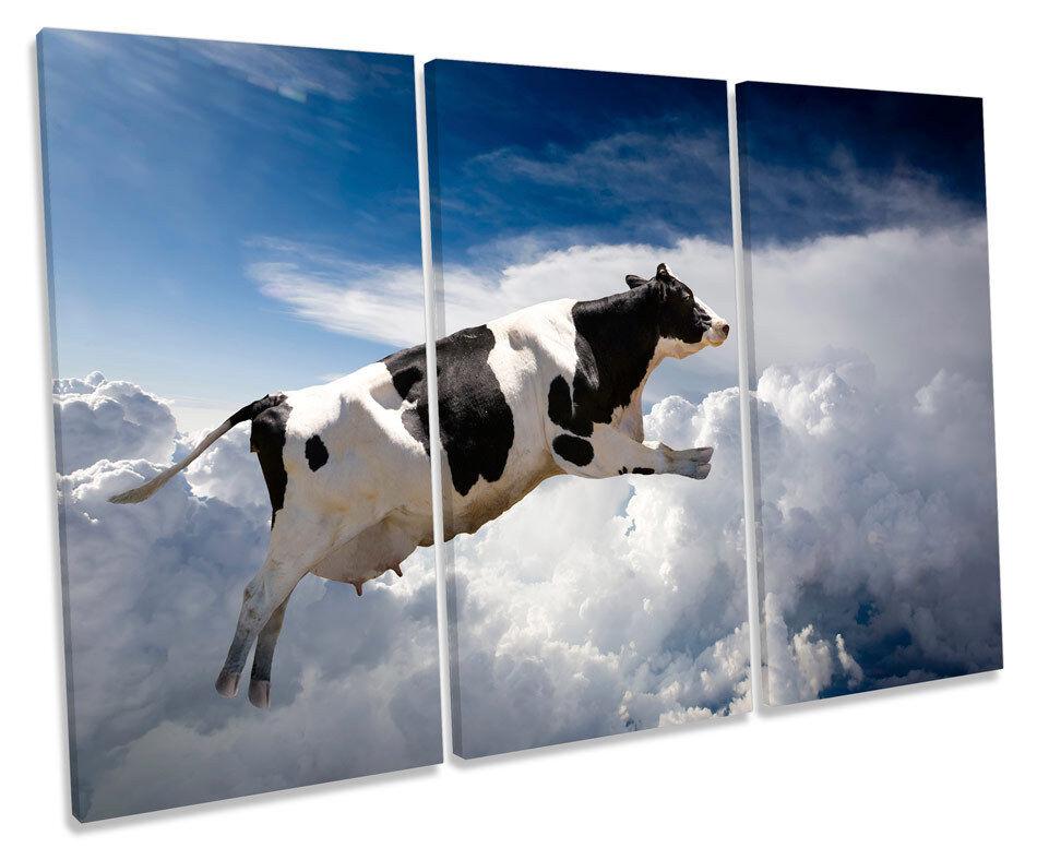 Flying Cow Modern TREBLE CANVAS Wand Kunst Box Framed Drucken
