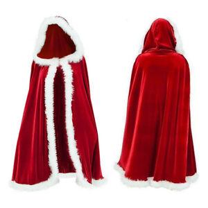 De-Lujo-Terciopelo-Rojo-Navidad-Santa-Claus-Capa-Capa-Con-Ribete-Blanco-Esponjoso