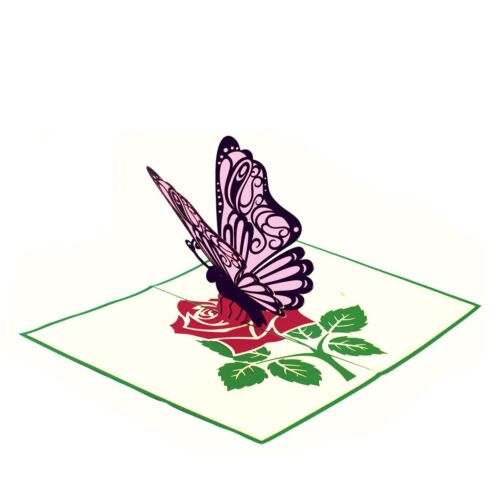 Greeting Card Thank You Card Birthday 3D Popup Card Butterfly on a Flower
