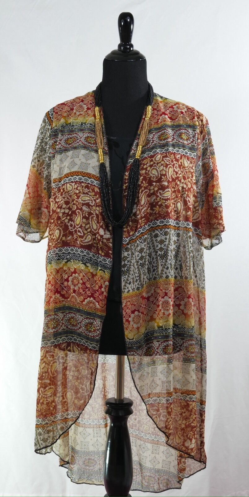 Vintage Style Duster Top Open Front Front Front Shimmering Brown color Medium Fits 5-10 d538e4