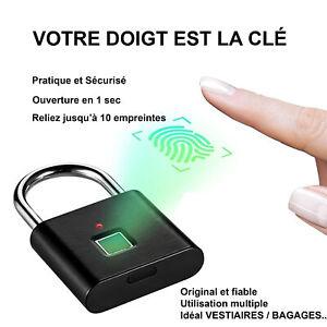 CADENAS-EMPREINTE-DIGITAL-NOIR-pour-Casier-Ecole-Fitness-Sac-Bureau-Envoi-France