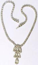 collier ancien bijou vintage cristaux swarovski diamant couleur or blanc * 4940