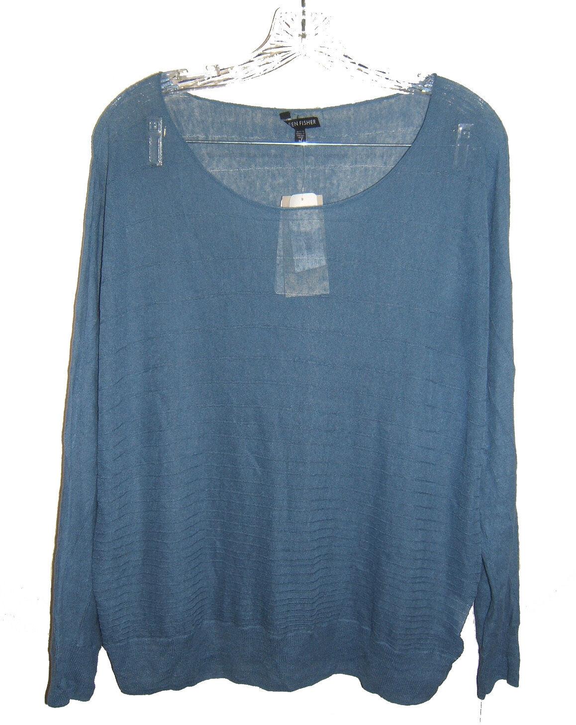 NEW Eileen Fisher bluee Sheer Hemp Sweater M NWT Dolman Sleeves