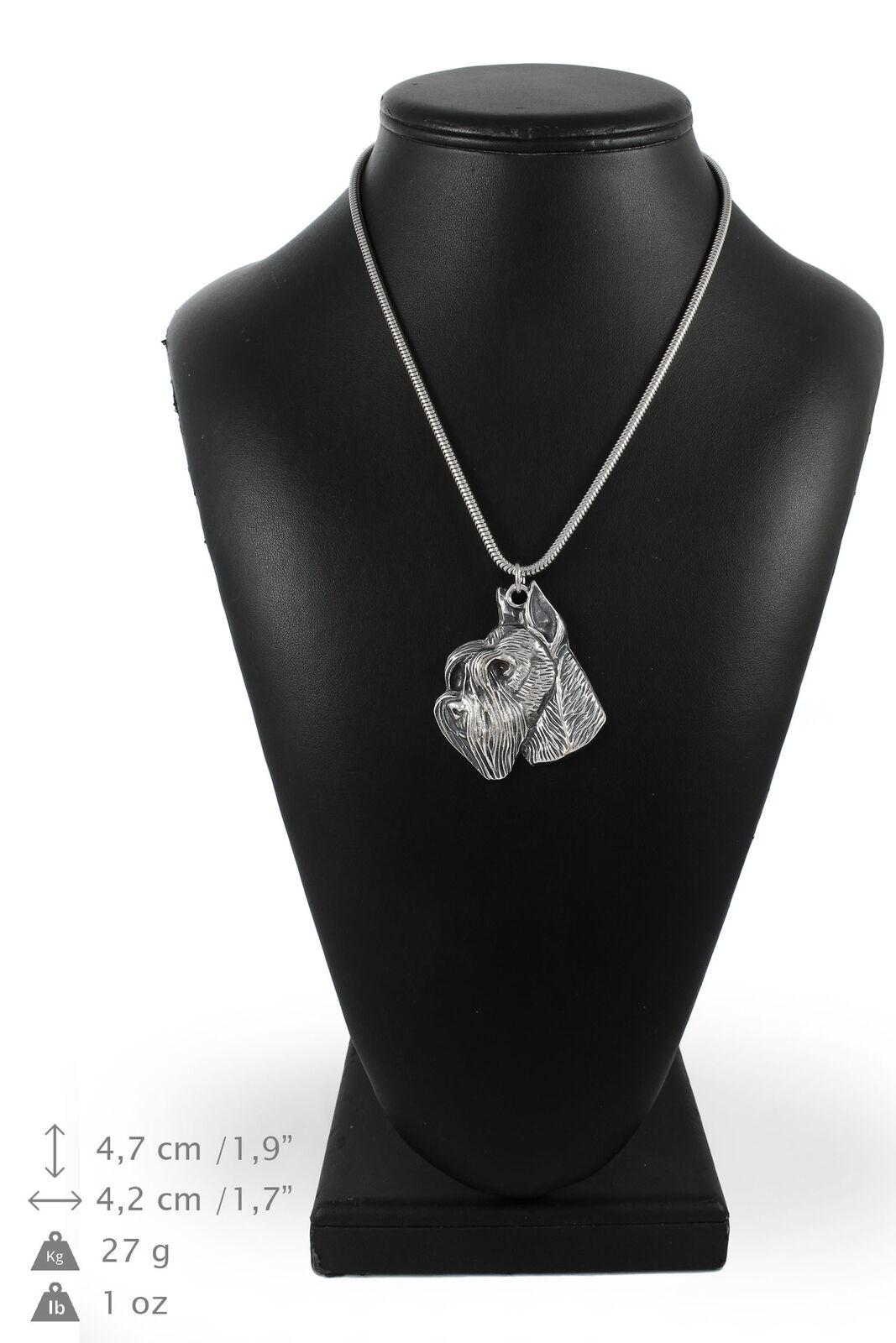 Schnauzer 2 - argento plaqué collier sur une cordon en argento Art Dog FR