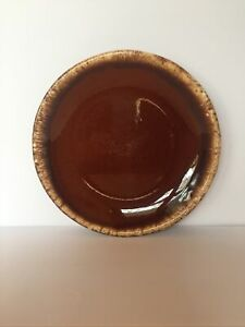 "Vintage Hull Pottery USA Brown Drip 10-1/2"" Dinner Plate Preowned"
