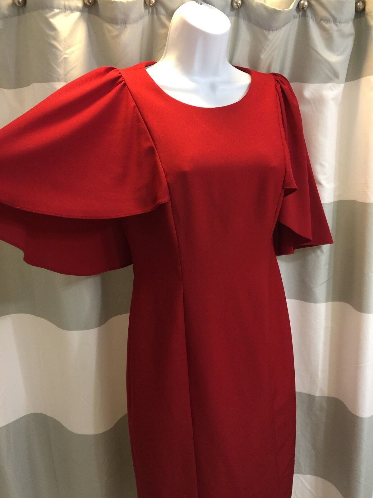 Antonio Melani Red Pencil Dress. Kimono Flutter Sleeves. Size 2