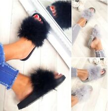 LADIES WOMENS FLAT FUR FLUFFY SLIDERS SLIPPERS COMFY SANDALS FLIP FLOP SHOES SZ