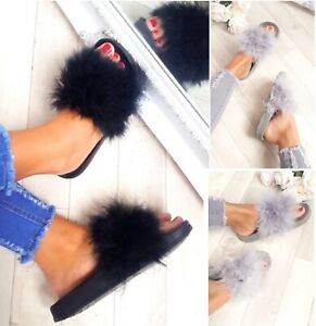 LADIES-WOMENS-FLAT-FUR-FLUFFY-SLIDERS-SLIPPERS-COMFY-SANDALS-FLIP-FLOP-SHOES-SZ