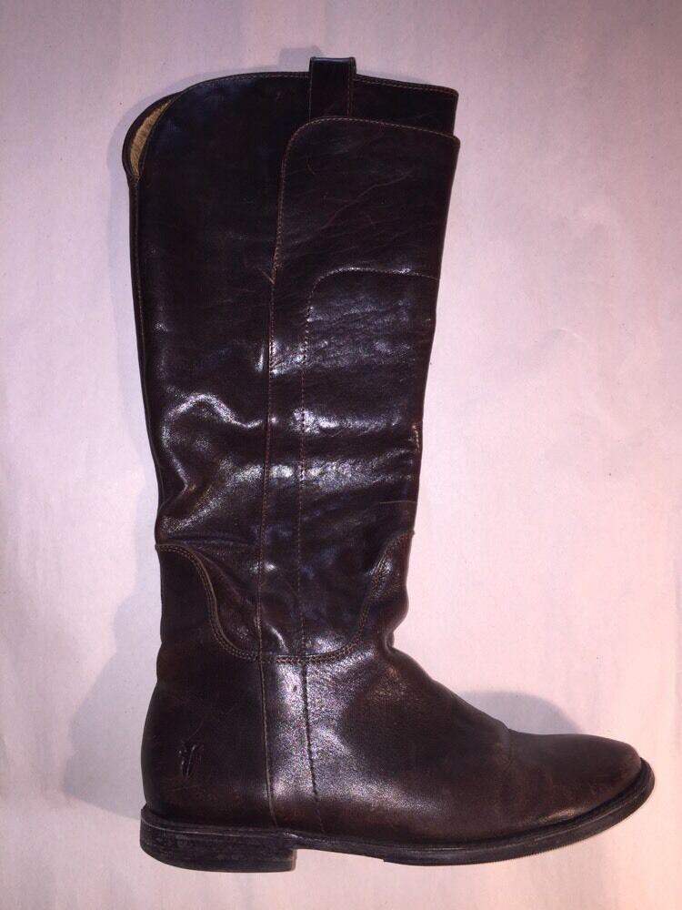 Pre-loved authentic FRYE chocolate braun leather RIDING Stiefel lady's Größe 6 1 2B