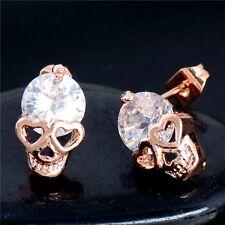 Gold Plated White Crystal Skull Heart Earrings