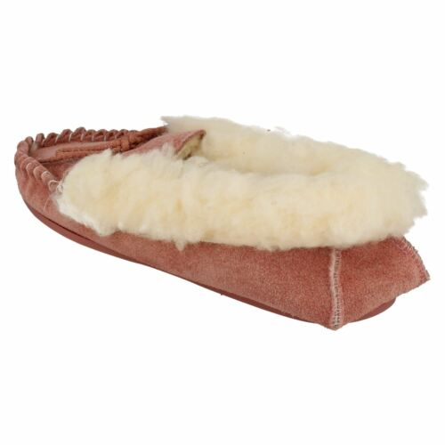 Ladies Real suede  Moccasin pink  slippers