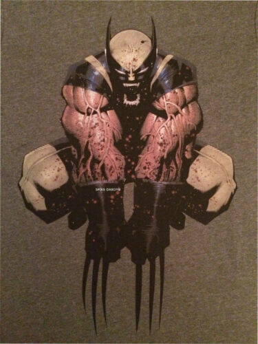 MARVEL COMICS WOLVERINE SPLATTERED BLOOD// JUMPING ATTACK GREY T-SHIRT NEW