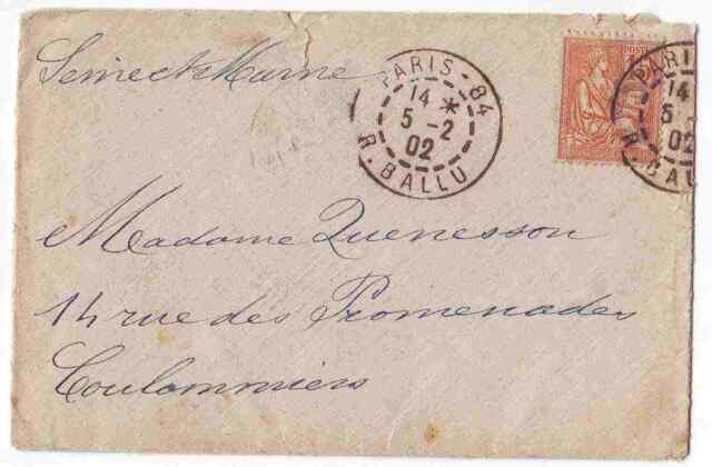 Frankreich Brief 1902 von Paris nach Coulommiers