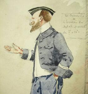24e-Cacciatori-Alpine-1904-Marsiglia-Disegno-Originale-Acqua-Militaria-Soldato