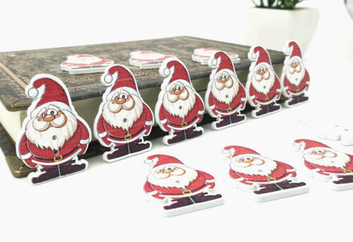 Christmas Decorations Wooden Buttons Sewing Santa Claus crafts scrapbooking 35mm