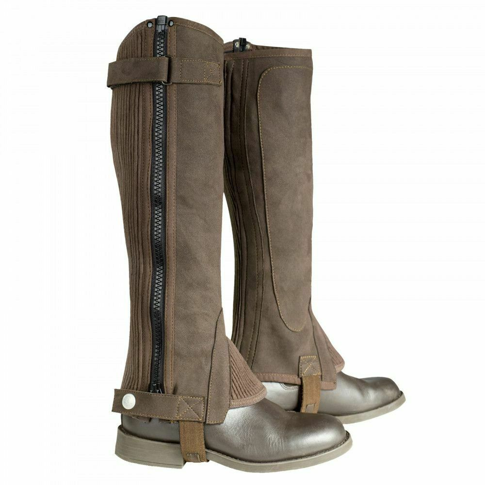 Horze Amara Half Chaps with Ribbed Panels Stretch Fabric Contoured Design