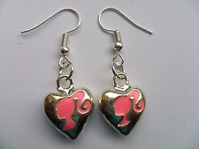 Cute Barbie Heart Silver Earrings