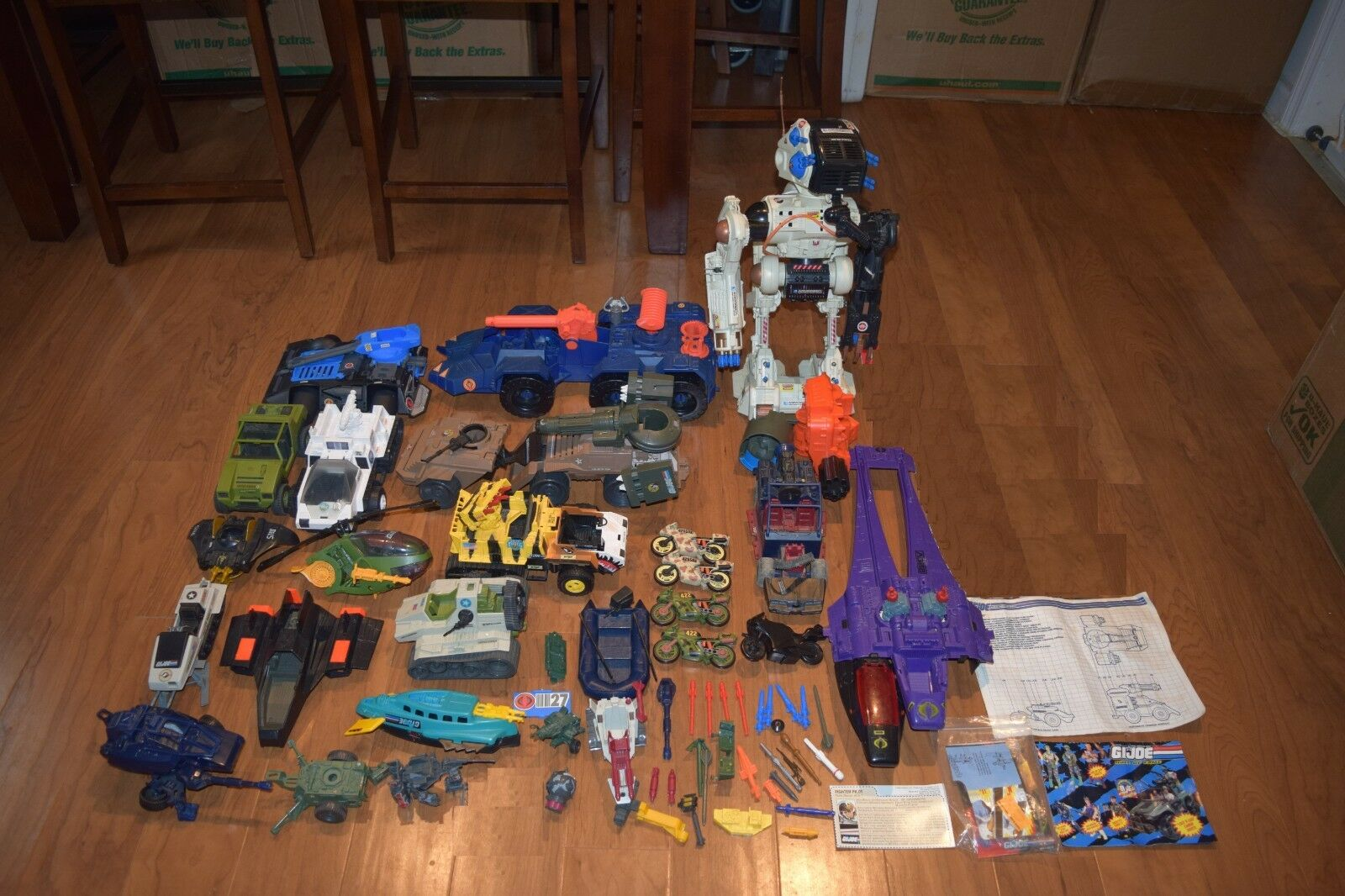 Vintage Hasbro GI Joe 70+ Piece Lot Vehicles And Accessories Tanks Motorcycles