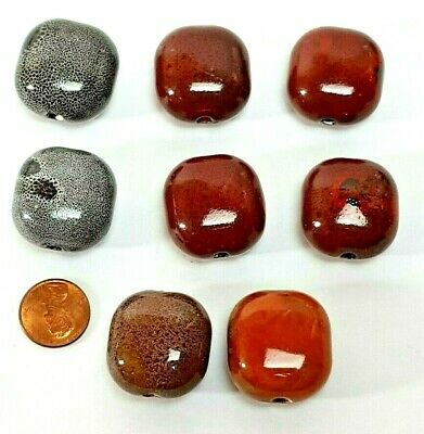50 Earth Tone Mix Czech Glass 14x9mm Leaves Leaf Beads