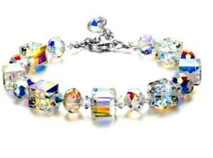 Aurora-Borealis-Bracelet-with-Swarovski-Crystals-18K-White-Gold-Adjustable-7-034-9-034