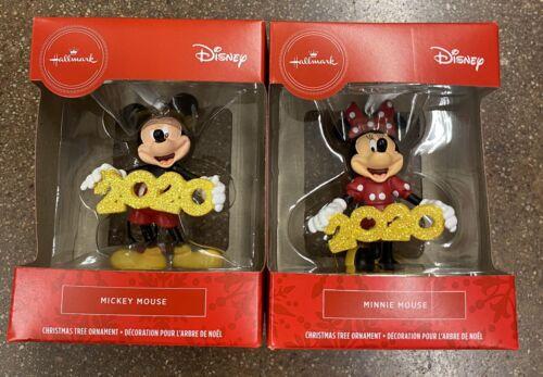 2 Hallmark 2020 Red Box Christmas Ornament Disney Mickey Minnie Mouse Fast Ship