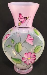 Fenton-Art-Glass-Hand-Painted-Stained-Glass-Vase-In-Original-Box