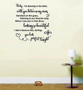 Perfect ed sheeran love song lyrics wedding wall art home decor image is loading perfect ed sheeran love song lyrics wedding wall stopboris Image collections