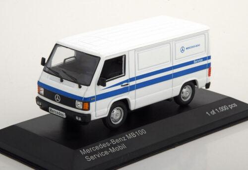 1:43 White Box mercedes mb100 Mercedes Service White//Blue