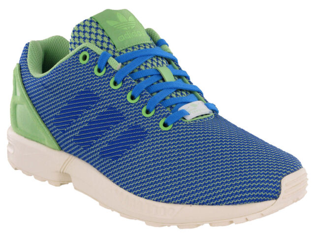 c6510e09b Adidas ZX Flux Weave Trainers Mens Running Sport Torsion Lace Blue Green  Sneaker
