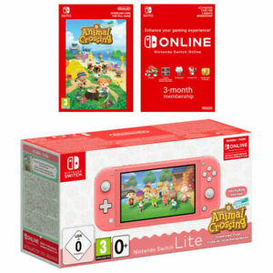 Nintendo Switch Lite Coral + Animal Crossing + Nintendo Switch Online 3 Month